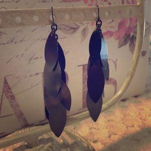 Black Gunmetal Long Dangle Earrings